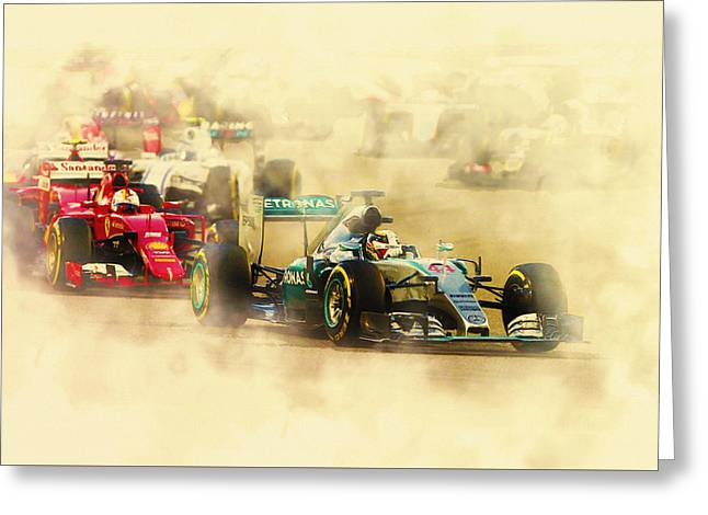 Lewis Hamilton Leads Again Greeting Card