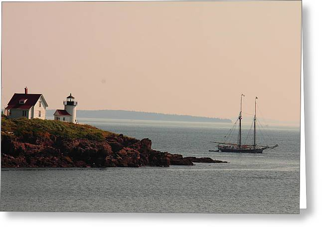 Lewis R French At The Curtis Island Lighthouse Greeting Card