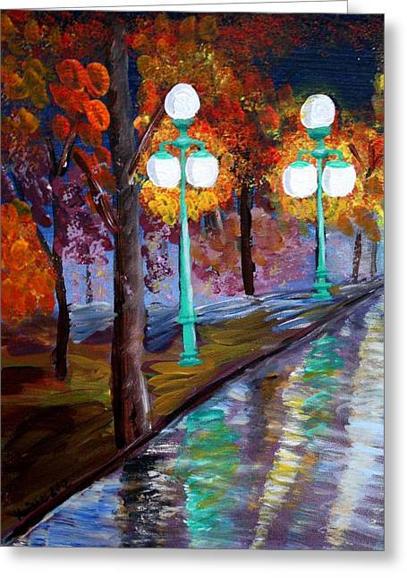 Lewisburg Pa Rainy Night  Greeting Card by Kristie Zweig Christensen