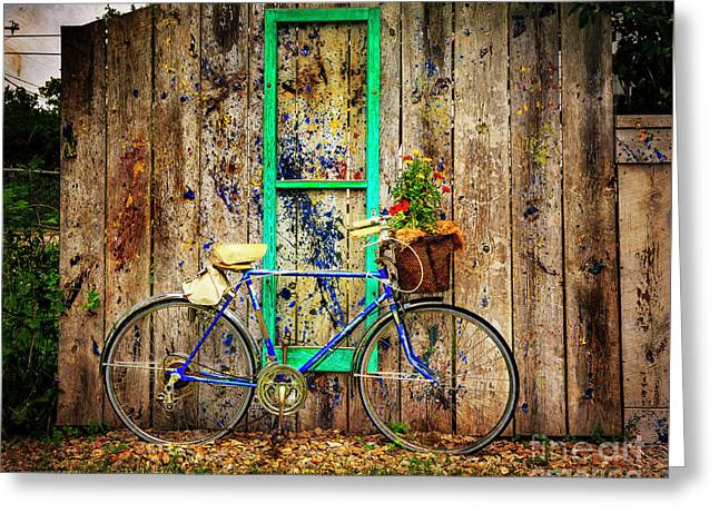 Greeting Card featuring the photograph Lewistown Garden Bicycle by Craig J Satterlee