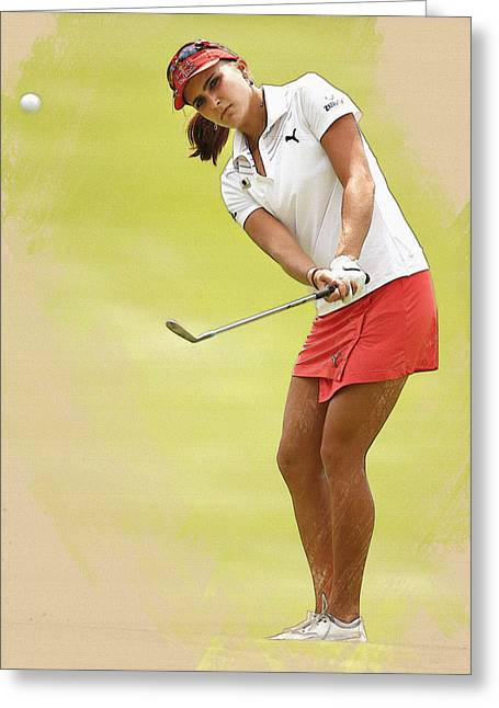 Lexi Thompson Chips To The First Green  Greeting Card