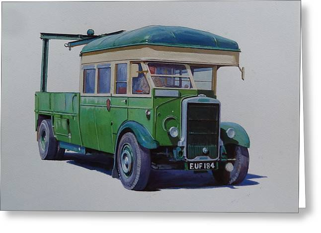 Greeting Card featuring the painting Leyland Southdown Wrecker. by Mike Jeffries