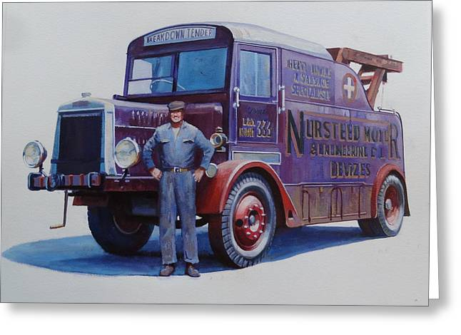 Greeting Card featuring the painting Leyland Wrecker 1930. by Mike  Jeffries