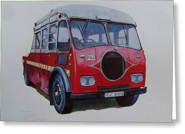 Greeting Card featuring the painting Leyland Wrecker Cie by Mike Jeffries