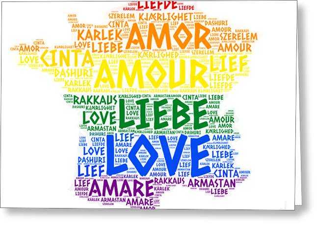 English language greeting cards page 11 of 11 fine art america lgbt rainbow france map illustrated with love word of different languages greeting card m4hsunfo