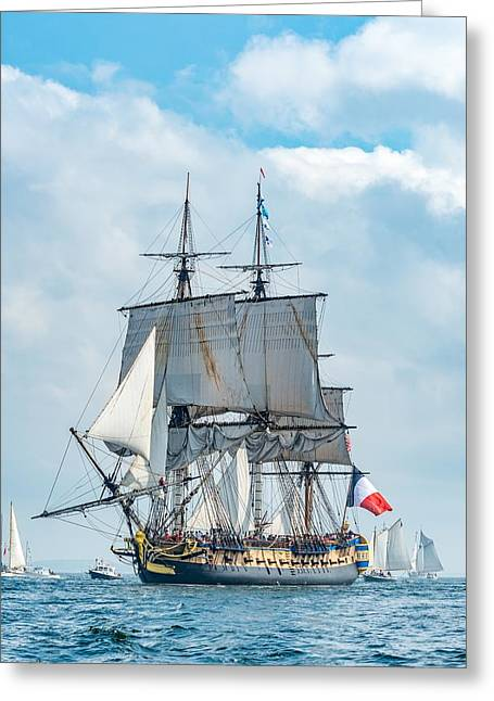 L'hermione Approaching Castine II Greeting Card by Tim Sullivan