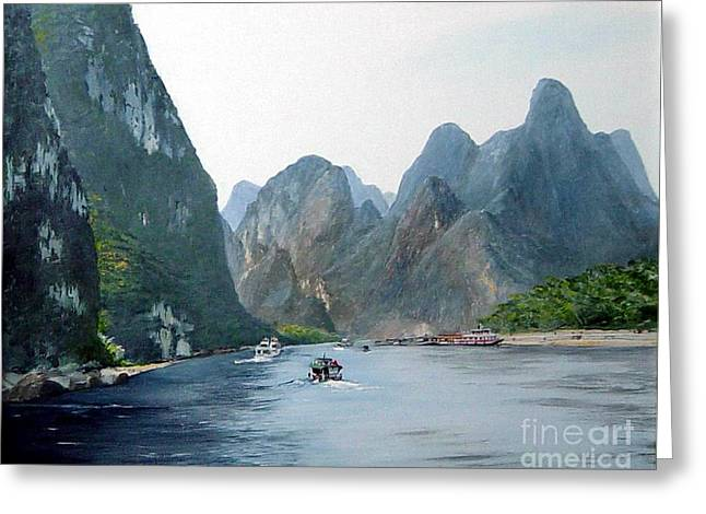 Li River China Greeting Card by Marie Dunkley
