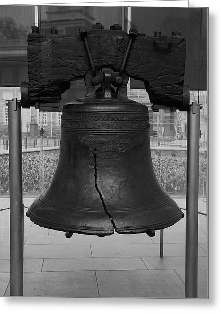 Liberty Bell Bw Greeting Card by Chris Flees