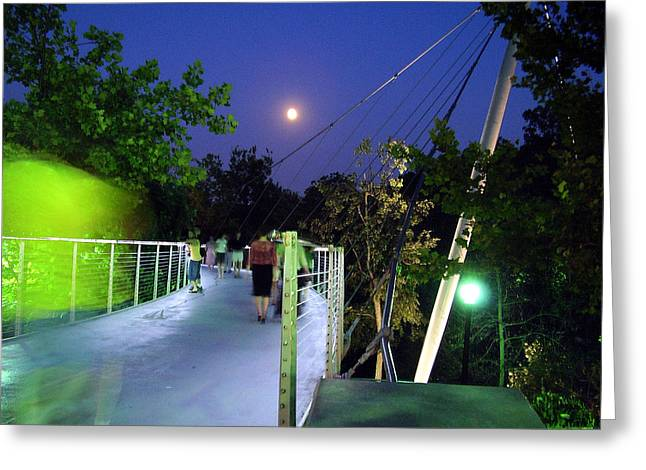 Liberty Bridge At Night Greenville South Carolina Greeting Card by Flavia Westerwelle