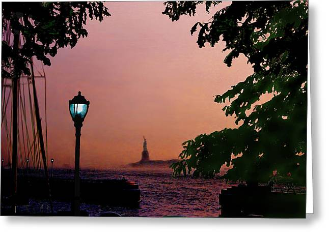 Liberty Fading Seascape Greeting Card by Steve Karol