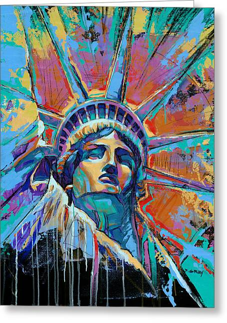 Liberty In Color Greeting Card by Damon Gray