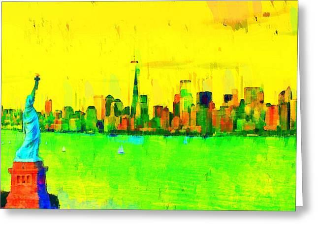 Liberty In New York - Pa Greeting Card by Leonardo Digenio