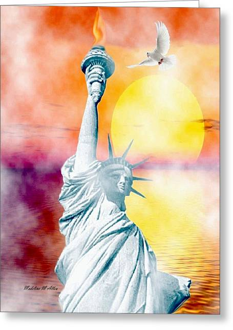 Liberty In The Mist Greeting Card by Madeline  Allen - SmudgeArt