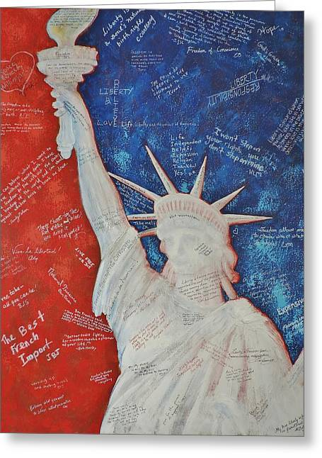 Liberty Is... Greeting Card by Margaret Bobb