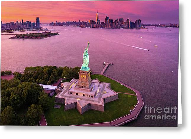 Liberty Island Twilight Greeting Card