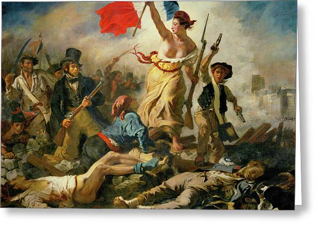 Greeting Card featuring the painting Liberty Leading The People By Eugene Delacroix 1830 by Movie Poster Prints