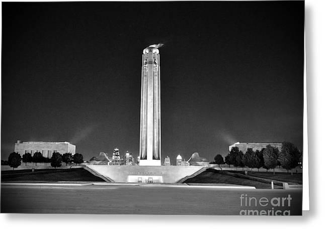 Liberty Memorial In Kansas City Bw Greeting Card