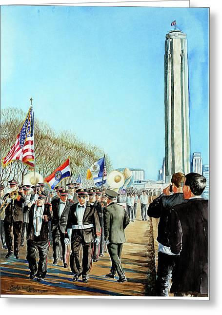 Liberty Memorial Kc Veterans Day 2001 Greeting Card by Carolyn Coffey Wallace