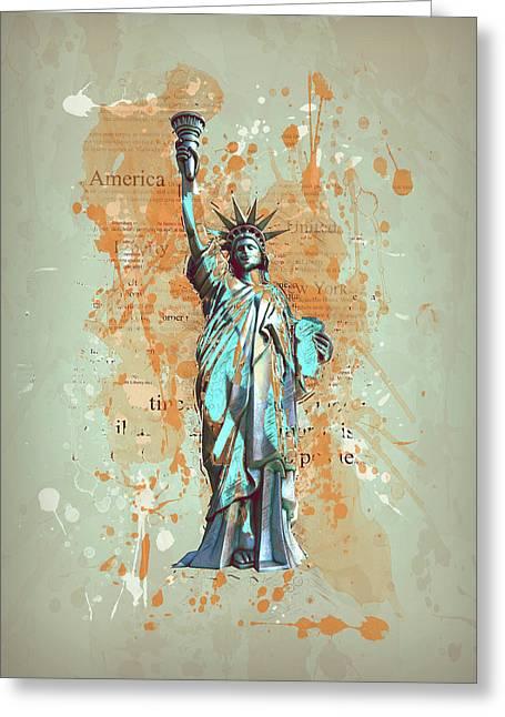 Liberty, New York, Manhattan, Vintage, Retro Greeting Card