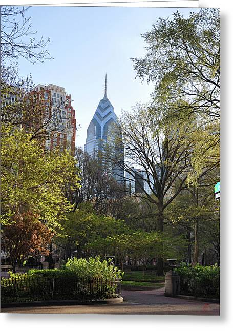 Liberty Place And Rittenhouse Square In The Spring Greeting Card by Bill Cannon