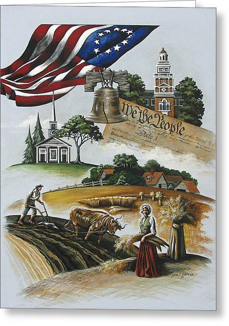 Betsy Ross Greeting Cards - Liberty Rising Greeting Card by Joan Garcia