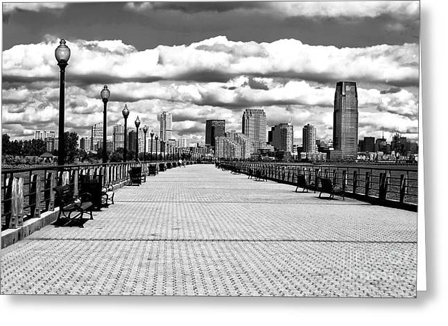 Liberty State Park Pier Greeting Card by John Rizzuto