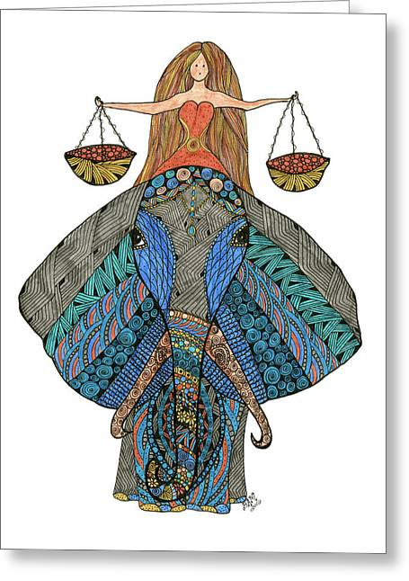 Greeting Card featuring the drawing Libra by Barbara McConoughey
