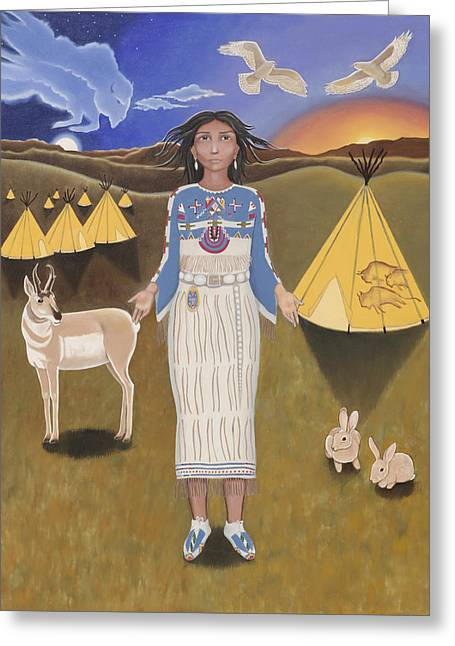 Libra / White Buffalo Calf Woman Greeting Card by Karen MacKenzie
