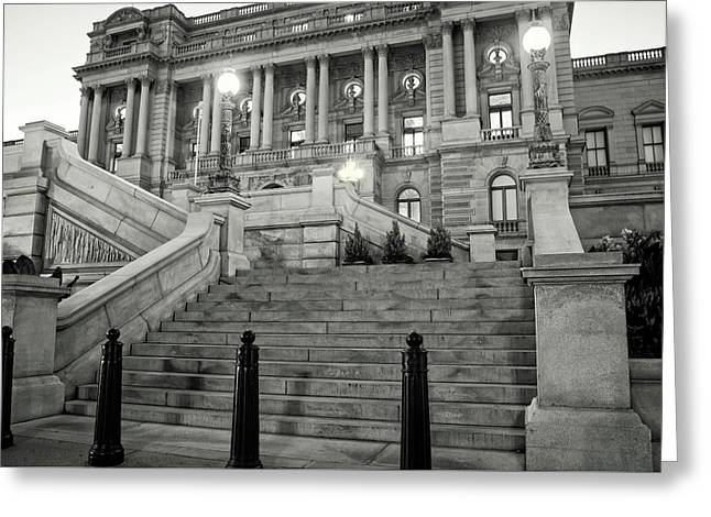 Library Of Congress In Black And White Greeting Card by Greg Mimbs