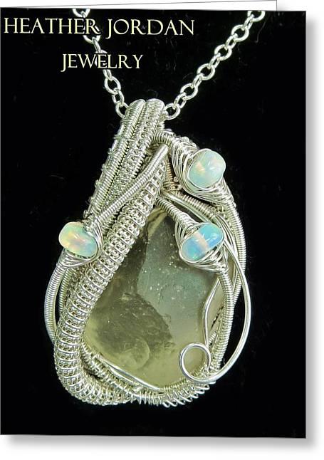 Libyan Desert Glass Meteorite Impactite Pendant In Sterling Silver With Ethiopian Opals Ldgpss12 Greeting Card by Heather Jordan