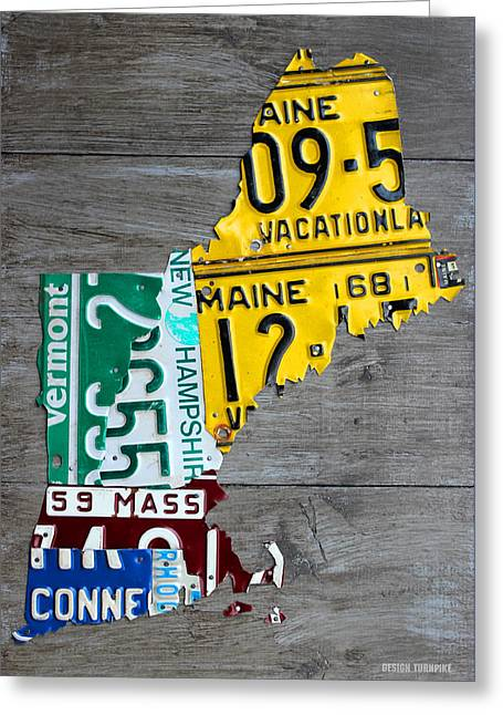 License Plate Map Of New England States Greeting Card