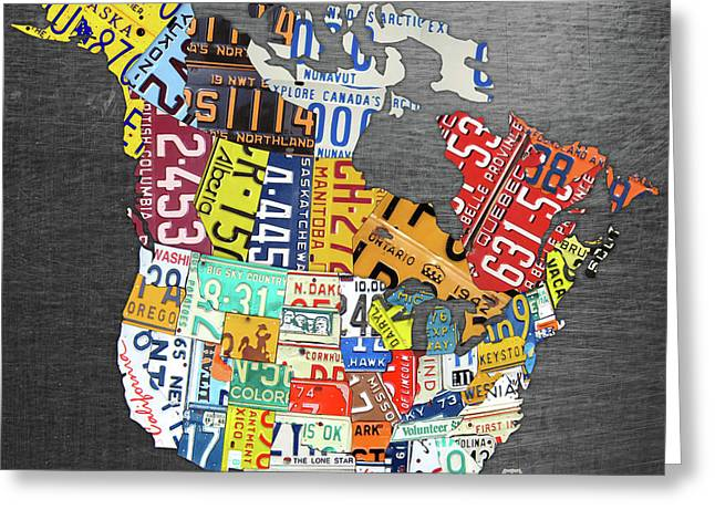 License Plate Map Of North America Canada And The United States On Gray Metal Greeting Card