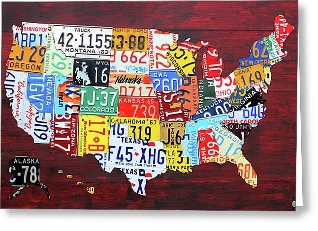 License Plate Map Of The United States Custom Edition 2017 Greeting Card by Design Turnpike