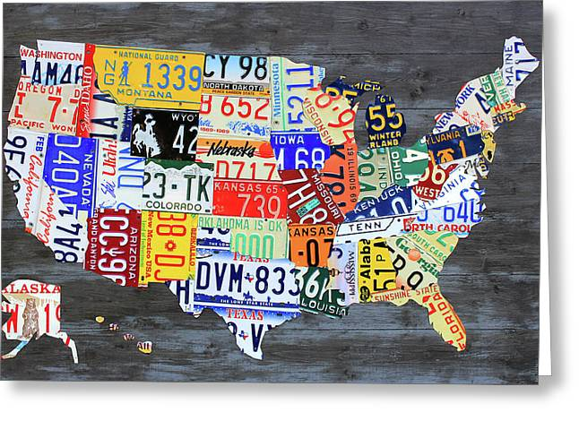 License Plate Map Of The United States Gray Edition 16 With Special Kodiak Bear Alaska Plate Greeting Card by Design Turnpike