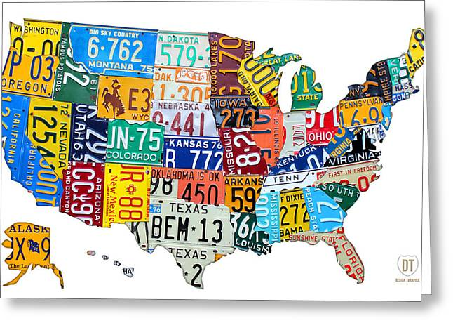 Road Trip Greeting Cards - License Plate Map of The United States Outlined Greeting Card by Design Turnpike