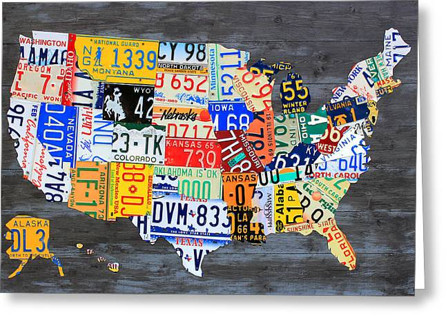 License Plate Map Of The Usa On Gray Distressed Wood Boards Greeting Card by Design Turnpike