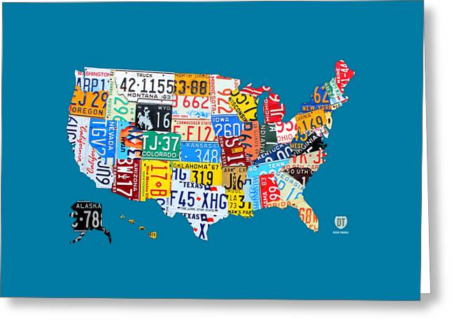 License Plate Map Of The Usa On Royal Blue Greeting Card by Design Turnpike