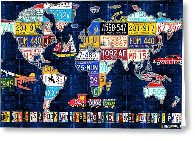 License Plate Map Of The World Travel Recycled Vintage Art With Augustine Quote Greeting Card by Design Turnpike