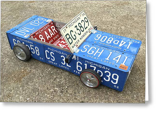 License Plate Vintage Roadster Mobile Made From Recycled Michigan Car Tags Greeting Card by Design Turnpike