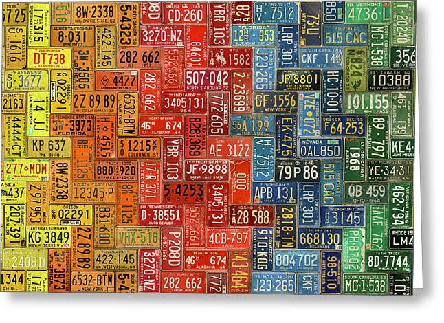 License Plates Of The United States Colorful Tile Pattern Art Greeting Card by Design Turnpike