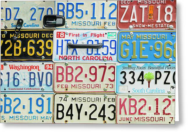 License Plates Greeting Card by Tim Gainey