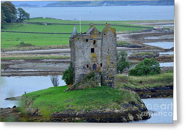 Lichen Covered Ruins Of Castle Stalker Greeting Card
