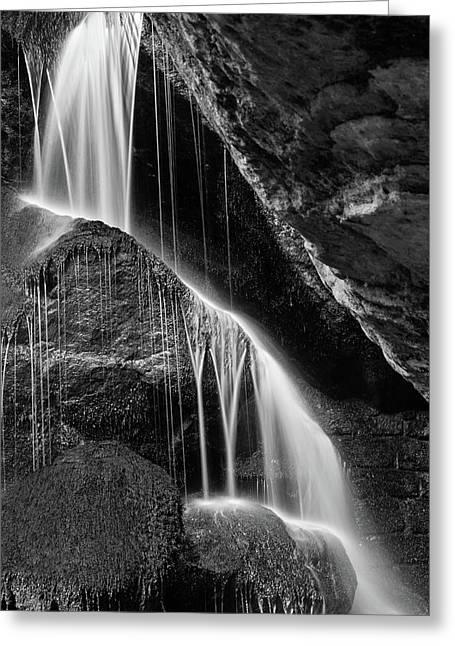 Lichtenhain Waterfall - Bw Version Greeting Card