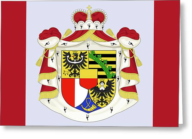 Greeting Card featuring the drawing Liechtenstein Coat Of Arms by Movie Poster Prints