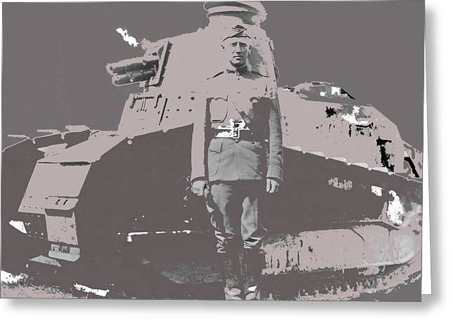 Lieut. Col. George S. Patton, Jr. 1st Tank Battalion A French Renault Tank Summer 1918 Color Added 2 Greeting Card by David Lee Guss