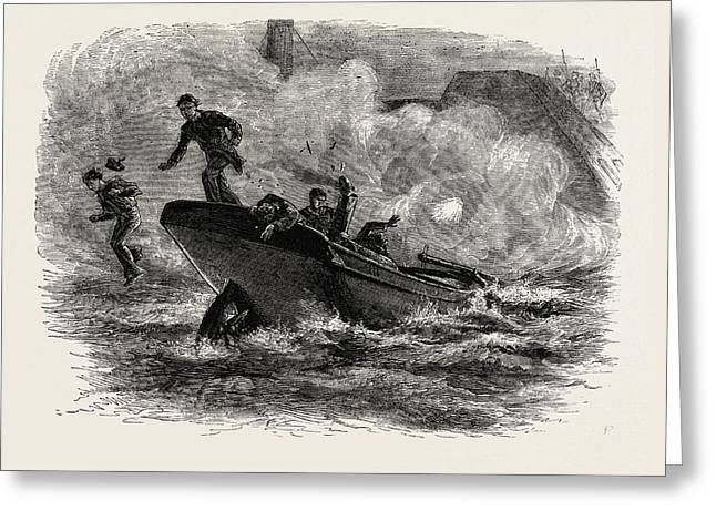 Lieutenant Cushing's Attack On The Albemarle Greeting Card by American School