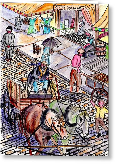 Life As It Was In Columbia And Union Streets Greeting Card