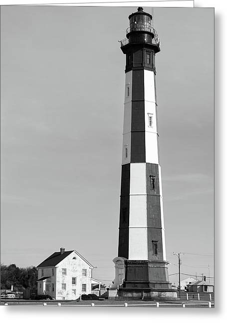 Life By The Lighthouse - Black And White Greeting Card by Gregory Ballos