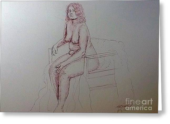 Life Drawing Nude Lady Greeting Card