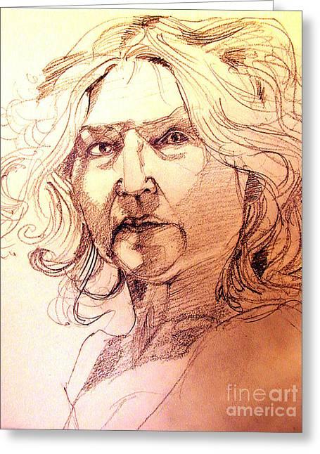 Life Drawing Sepia Portrait Sketch Medusa Greeting Card